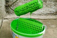 Green paint can Stock Photos