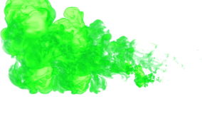 Green paint dissolved in water on a white background. 3d render. voxel graphics. computer simulation 6.... Green paint dissolved in water on a white background stock video footage