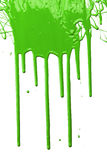 Green Paint Dripping. Isolated over white background Royalty Free Stock Photography