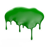 Green paint dripping isolated over white background Royalty Free Stock Images