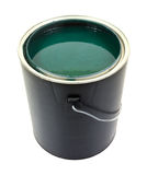 Green paint in gallon can. A gallon can of green paint on a white background royalty free stock photo