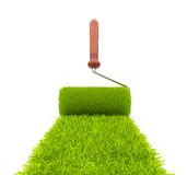 Green paint of grass. Roller 3D Stock Photo