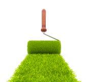 Green paint of grass. Roller 3D Stock Photo