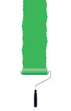 Green paint roller. Green paint from a roller Royalty Free Stock Image