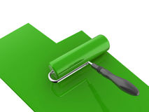 Green paint roller Royalty Free Stock Photo