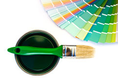 Green paint and swatch. Royalty Free Stock Photos