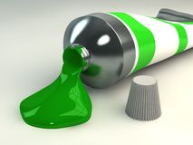 Green paint tube Stock Images