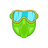 Green paintball mask icon, cartoon style Stock Photography