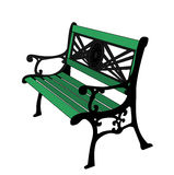 Green painted Bench. Stock Photo