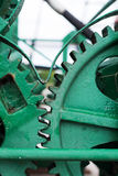 Green painted big gear wheels Stock Photography