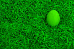 Green painted easter egg Stock Photos