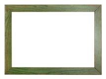 Green painted flat wooden picture frame Stock Photos