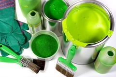 Green painting Stock Images