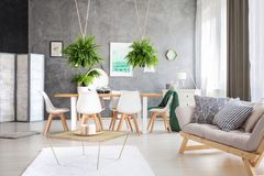 Green painting in an apartment stock photo