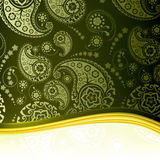 Green Paisley Background. Computer illustration Royalty Free Stock Images