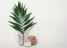 Green palm leaf, candle and small wicker basket neat the white wall stock photo