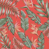 Green palm leaves brown tropical flowers seamless trendy coral b royalty free illustration