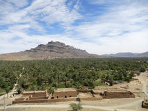 Green palm oasis in desert. Green palm oasis in Sahara, Morocco Stock Photography