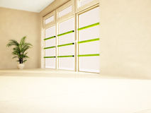Green Palm Tree Near A Window Royalty Free Stock Photography