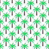 Green palm trees seamless vector pattern. Stock Photo