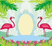 Green palms and pink flamingo Royalty Free Stock Photography