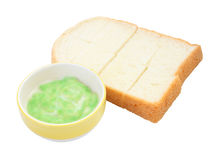 Green pandan custard and steamed bread plate Stock Photography