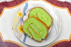 Green Pandan Layer Cake Stock Images