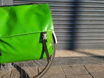 Green pannier on a bicycle Royalty Free Stock Photo