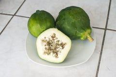 Green papaya. Fresh green papaya makes amazing salad Royalty Free Stock Photos