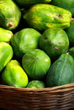 Green papaya in local fruit bazaar in India Stock Photo
