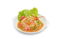 Green papaya mix carrots salad or Som Tum, spicy thai food. Clipping path Royalty Free Stock Photo