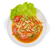 Green papaya mix carrots salad or Som Tum, spicy thai food. Clipping path Stock Images