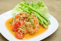 Green papaya mix carrots salad. spicy thai food Stock Photos