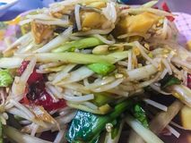 Green papaya salad, also known as Som Tam, a spicy salad made from shredded unripe papaya. Probably originating from ethnic Lao pe. Ople, it is also eaten royalty free stock photography