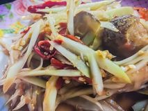 Green papaya salad, also known as Som Tam, a spicy salad made from shredded unripe papaya. Probably originating from ethnic Lao pe. Ople, it is also eaten Royalty Free Stock Photos