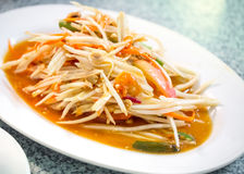 Green papaya salad. Also known as Som Tum, the hot and spicy favourite appetizer from Thailand royalty free stock photo