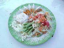 Green papaya salad. Salad or beat Thailand is a dish that is eaten Royalty Free Stock Photos