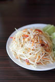 Green papaya salad. In close up Royalty Free Stock Image
