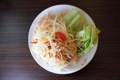 Green papaya salad. In close up Royalty Free Stock Photos