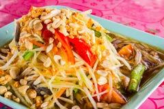 Green papaya salad. Close-up of Green papaya salad called Som-Tum, famous food in thailand stock photos