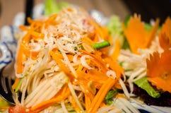 Green papaya salad closeup Stock Photo