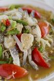 Green papaya salad. Green papaya salad with crab in plate Stock Photo