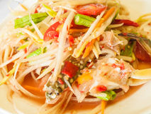 Green papaya salad with crab. Somtum thai food Royalty Free Stock Image