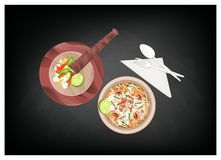 Green Papaya Salad with Dried Shrimps on Chalkboard. Cuisine and Food, Green Papaya Salad with Dried Shrimps on Black Chalkboard. One of The Most Popular Dish in royalty free illustration