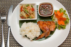 Green papaya salad, grilled chicken and sticky rice. A Green papaya salad, grilled chicken and sticky rice Stock Photo