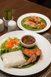 Green papaya salad, grilled chicken and sticky rice. A Green papaya salad, grilled chicken and sticky rice Stock Image