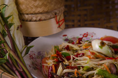 Green papaya salad. Hot Spicy food in Thailand Stock Images