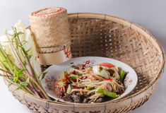 Green papaya salad. Hot Spicy food in Thailand Royalty Free Stock Photo