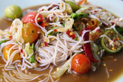 Green papaya salad. Mix noodles salad.Culture of Thailand& x27;s Northeastern stock photo