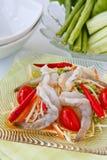 Green papaya salad  with rare shrimp Royalty Free Stock Image